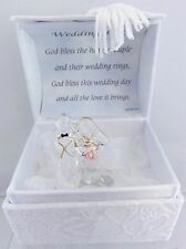 Bride & Groom Glass Ornament in Satin Lined Brocade Box Gift Cute Wedding Gift