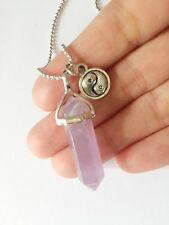 Amethyst Point Necklace Pendant Silver Boho Yin Yang Charm Crystal NEW