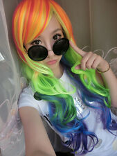 My Little Pony Rainbow Color Dash Full Long Wavy Curly Fashion Wig for Cosplay