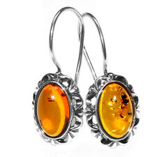 3.2g Authentic Baltic Amber 925 Sterling Silver Earrings Jewelry A5816