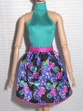 DRESS ~ BARBIE DOLL GLAM STYLE PARTY AQUA FLORAL PRINT HALTER COCKTAIL DRESS