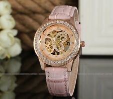 Winner Auto pink color leather butterfly Rose Gold Skelton dial vogue lady watch