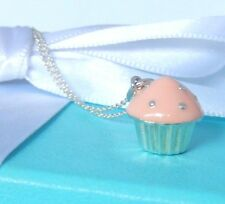 """Tiffany & Co Silver Pink Enamel Cupcake Pendant Charm 16"""" Chain Necklace"""