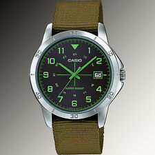 Casio MTP-V008B-3B Mens Analog Silver Tone Watch Green Fabric Band Date New