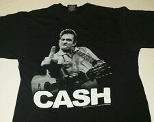 Johnny Cash Middle Finger Mens L TShirt man in black Country Music Folsom guitar