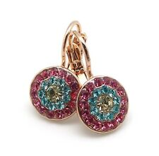 "MARIANA 1064 ""Margarita"" Jonquil Aquamarine & Rose Swarovski Rose Gold Earrings"