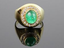 Vintage c1960s Large Natural Emerald Cabochon and Diamond 18K Gold Ring, 8.7g