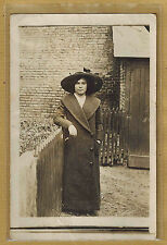 Carte Photo vintage card RPPC femme chapeau manteau mode fashion ph0298