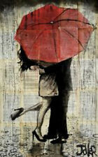 Loui Jover The Red Umbrella Vintage Couple Kiss Romance Print Poster 14x11
