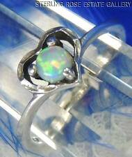 Heart VINTAGE Opal Dainty Hand Crafted Sterling Silver 0.925 Estate RING size 6