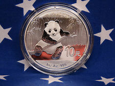 2014 Panda China Mint 1 Oz BUGEM .999 Fine Solid Silver Bullion + Capsule Coin