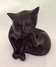 Solid Black Scratching Kitty Cat Figurine Statue Decorative Collectible