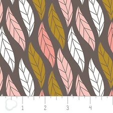 CAMELOT 100% cotton PatchworkQuilting FQ/Metre MAGNOLIA - LEAVES IN DARK TAUPE