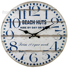 Vintage Large 34cm Beach Huts Nautical Wooden Wall Clock Chic Shabby Cream Blue