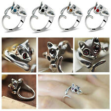 Womens Lovely Ring Adjustable Kitten Cute Cat Rhinestone Eyes Black Jewelry Gift