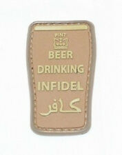 BEER DRINKING INFIDEL DESERT TACTICAL BADGE MORALE PVC MILITARY PATCH