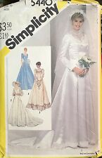 SIMPLICITY 5440 Pattern Misses 10 Wedding Bridal Dress Bridesmaid Vintage Uncut