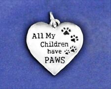 Sterling Silver Pl Charm My Children Have PAWS Paw Print Heart Pet Cat Dog Kids
