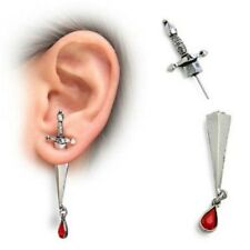 Sword / Dagger EARRING with red crystal blood dropper EMO Punk Rock Biker UK