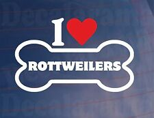 I LOVE/HEART ROTTWEILERS Novelty Bone Car/Window Sticker - Ideal for Dog Owners