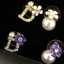 Fashion Women Pearl Letter D Flower Earrings Daisy Crystal Rhinestone Ear Stud