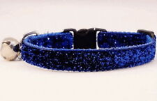 "BLUE SPARKLE CAT-KITTEN SAFETY COLLAR 9"" CHARM & BELL"
