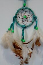 SMALL 6CM HANDMADE NATIVE DREAM CATCHER GREEN SUEDE HELP BAD DREAMS / dcle06gre