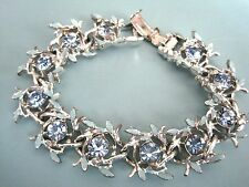 BEAUTIFUL VINTAGE  ICE BLUE RHINESTONE + ENAMEL CHUNKY BRIGHT + SHINY BRACELET
