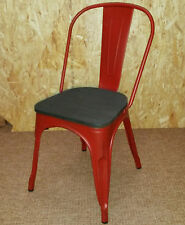 NEW TOLIX METAL CHAIRS DISTRESSED RED PAINT & WOODEN SEAT - RETRO FRENCH BISTRO