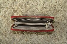 DKNY Leather Studded Red Wallet Zip Clutch Evening Purse