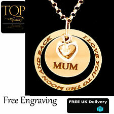 Ring Disc Pendant Personalised Engraved Name Necklace Gold Plated Gift Heart Mum