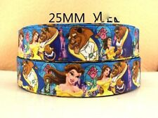 1 METRE OF BEAUTY AND THE BEAST RIBBON SIZE 1 INCH BOWS HEADBANDS BIRTHDAY CAKE