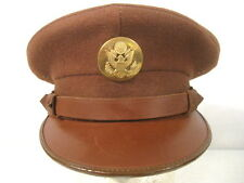 WWII US Army NCO Enlistedman Visor Service Cap or Hat w/Brown Leather Brim Sz 7