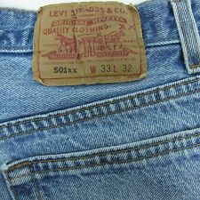Levi's DISTRESSED 501 Button Fly Denim Blue Jeans 33x32 Fits as 30 x 29 Made USA