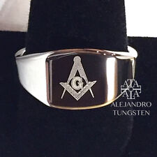Tungsten Masonic Ring Freemason Men Band Classic Laser Logo Silver Size 10