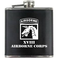Army 18th Airborne Division XVIII Veteran Soldier Groomsman Gift Leather Flask