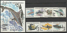 Stamps 1993 Madagascar local sharks set of 7 plus mini sheet MUH, nice thematics