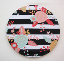 Round Computer Mouse Pad / Mat - black white stripes metallic gold flowers