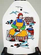 Figgjo Figgio Flint Norway Norsk Design Folk Art Wall Plaque Girl Cleaning Fish
