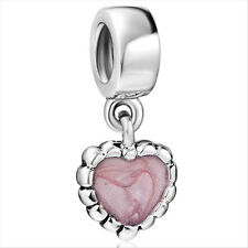 Hot Love Heart 925 silver sterling charm bead fits Snake european bracelet Chain