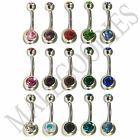 W003 Double Gem Jewels Naval Belly Rings Ring LOT of 15