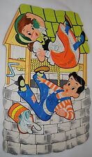 VTG MOTHER GOOSE NURSERY RHYME  JACK AND JILL TRAY PUZZLE CARDBOARD 18 PIECES