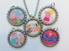 Peppa Pig Handmade Switchable Bottle Cap Necklace Set for Boys and Girls!