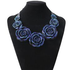 Big Resin Crystal Blue Flower Necklace & Pendant Statement  Bib Chunky Choker