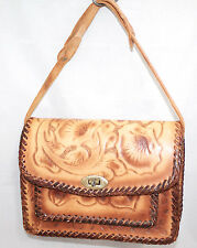 Vtg Handmade Hand Tooled Tan Brown Leather Shoulder Bag Floral Embossed Design
