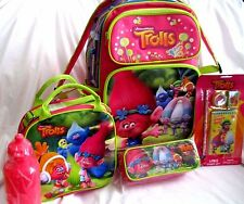"""TROLLS 16"""" ROLLING BACKPACK,LUNCHBOX,PENCIL CASE, AND STATIONARY SET- BRAND NEW!"""