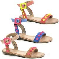 GIRLS SUMMER SANDALS NEW KIDS GLADIATOR FANCY PARTY BEACH LOW HEELS SHOES SIZE