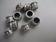 10 PC silver color metal buddhism six words mantra dreadlock beads 7mm hole