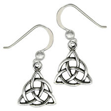 Sterling Silver Triquetra Dangle Earrings Celtic Knot Trinity Symbol Wicca Pagan