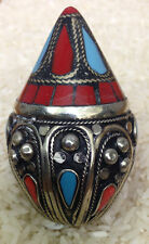 Middle Eastern Kuchi  Turquoise Silver Coral Ring Size 12